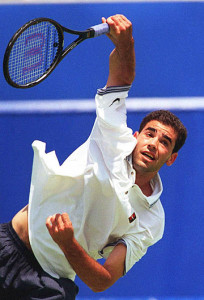 Top seed Pete Sampras of the US serves during his