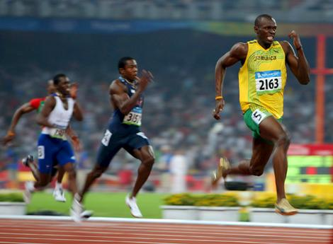 Usain Bolt streaks away for another gold.