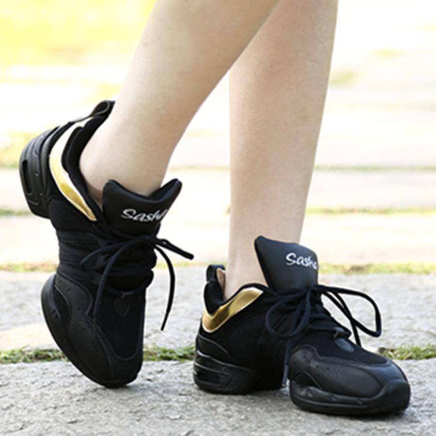 Черный-Золотой-Воздухопроницаемой-Сеткой-Современные-Танцы-Кроссовки-Zapatos-Де-Танцевать-Джаз-Танцевальная-Обувь-SS-B205